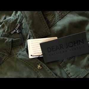 Dear John Tops - Dear John army green Aztec embroidery button up
